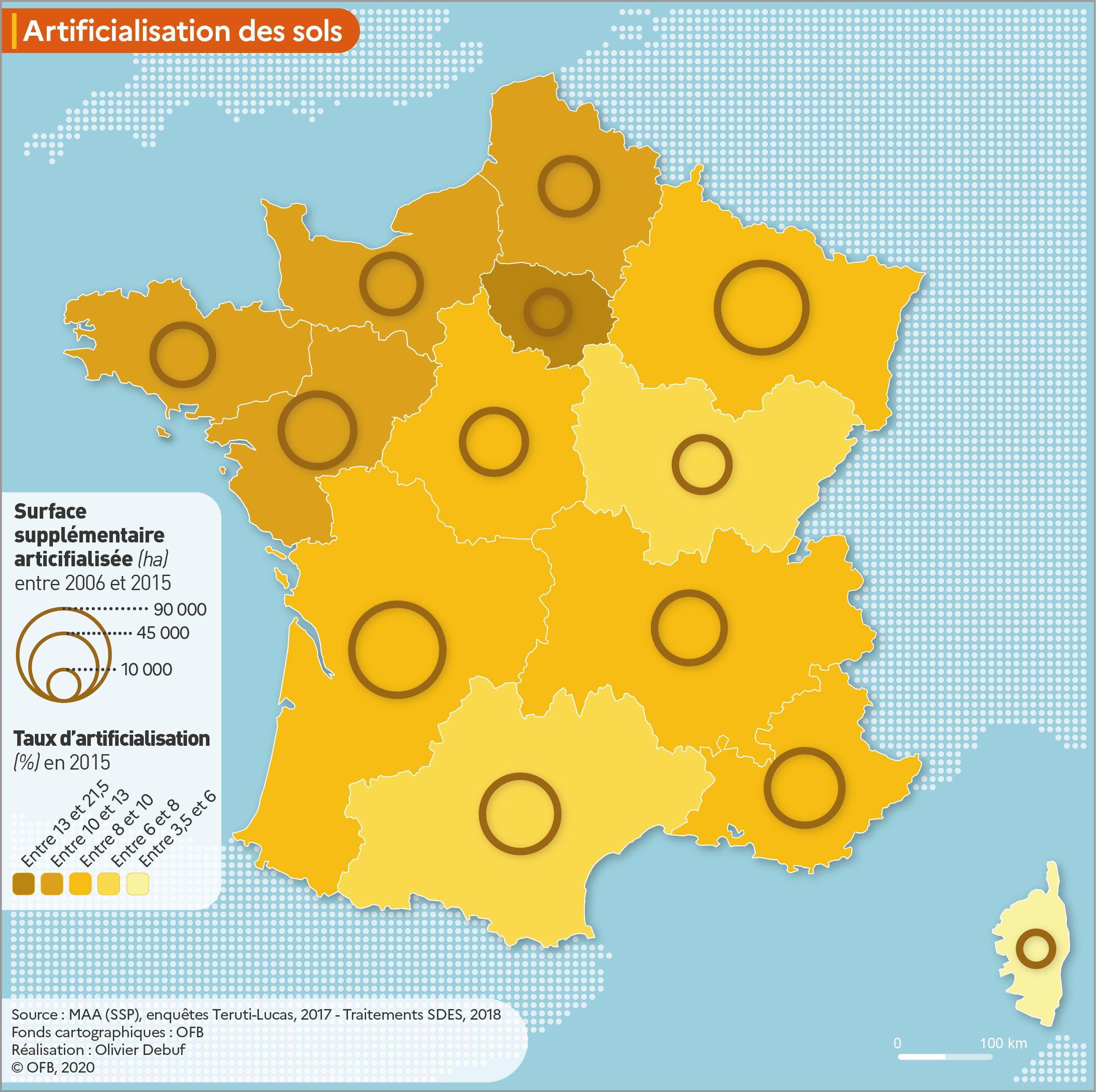 Espaces artificialisés par région en 2015 et surfaces artificialisées depuis 2006 (France métropolitaine)