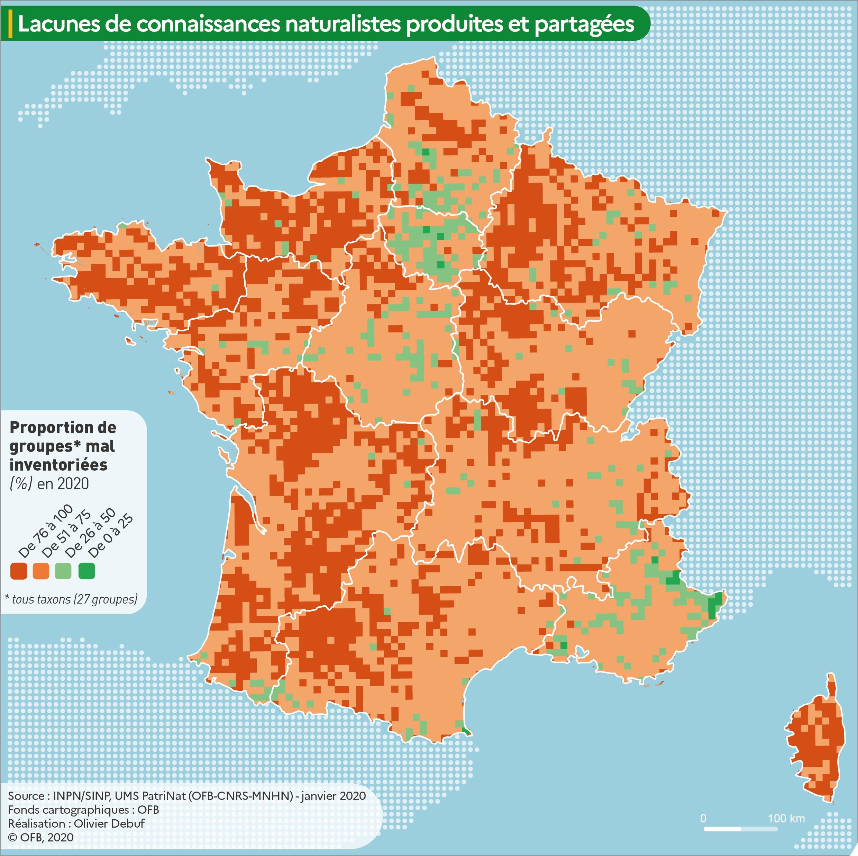 Carte Lacunes de production ou de partage de connaissances naturalistes en métropole