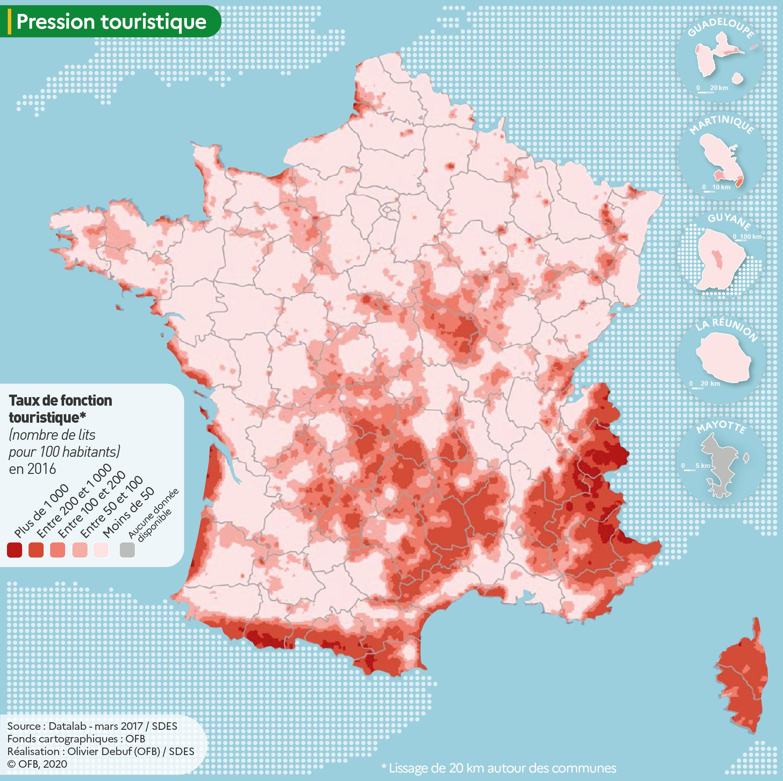 Carte du taux de fonction touristique en France