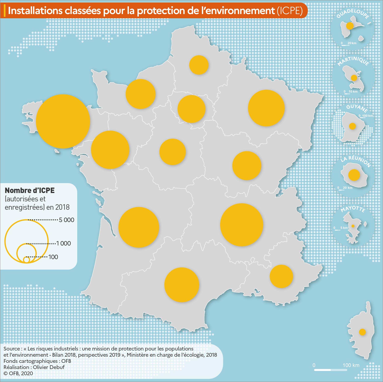 Carte présentant le nombre d'installations classées pour la protection de l'environnement (ICPE)