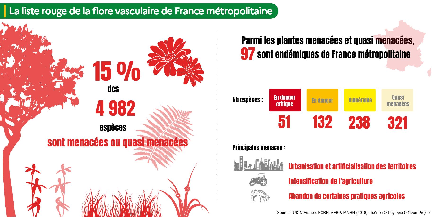 Infographie UICN sur la liste rouge de la flore vasculaire de France métropolitaine