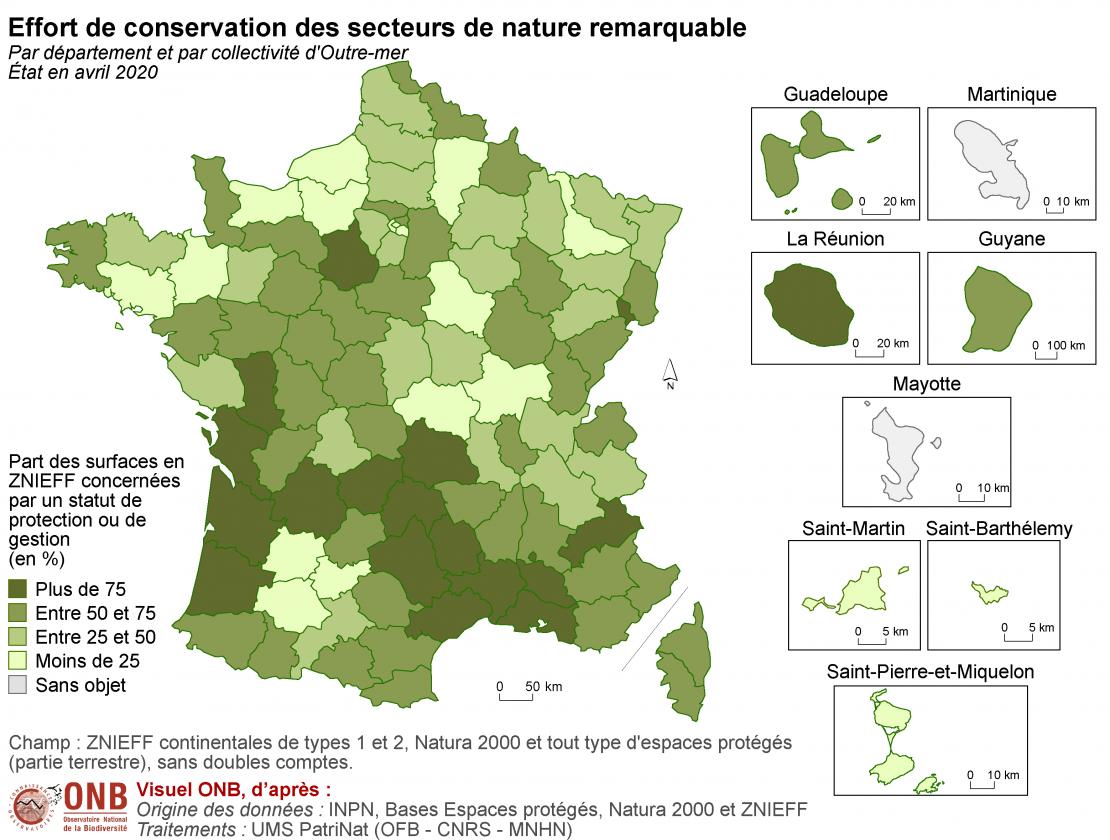 Effort de conservation des secteurs de nature remarquable par département et par collectivité d'Outre-mer, état en avril 2020