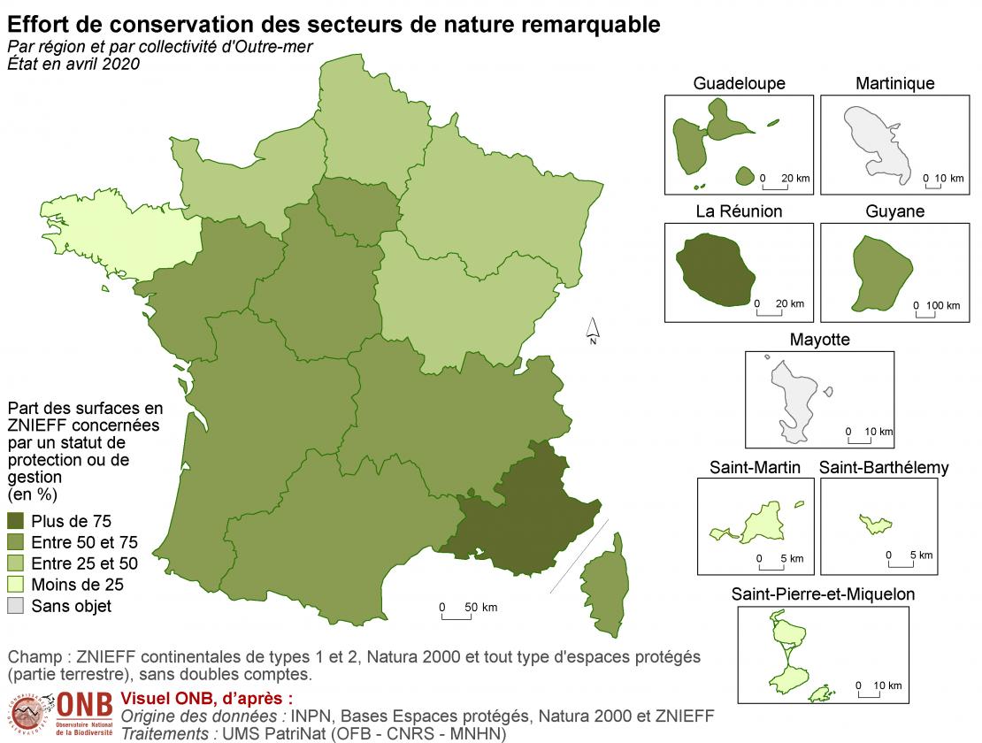 Effort de conservation des secteurs de nature remarquable par région en 2020