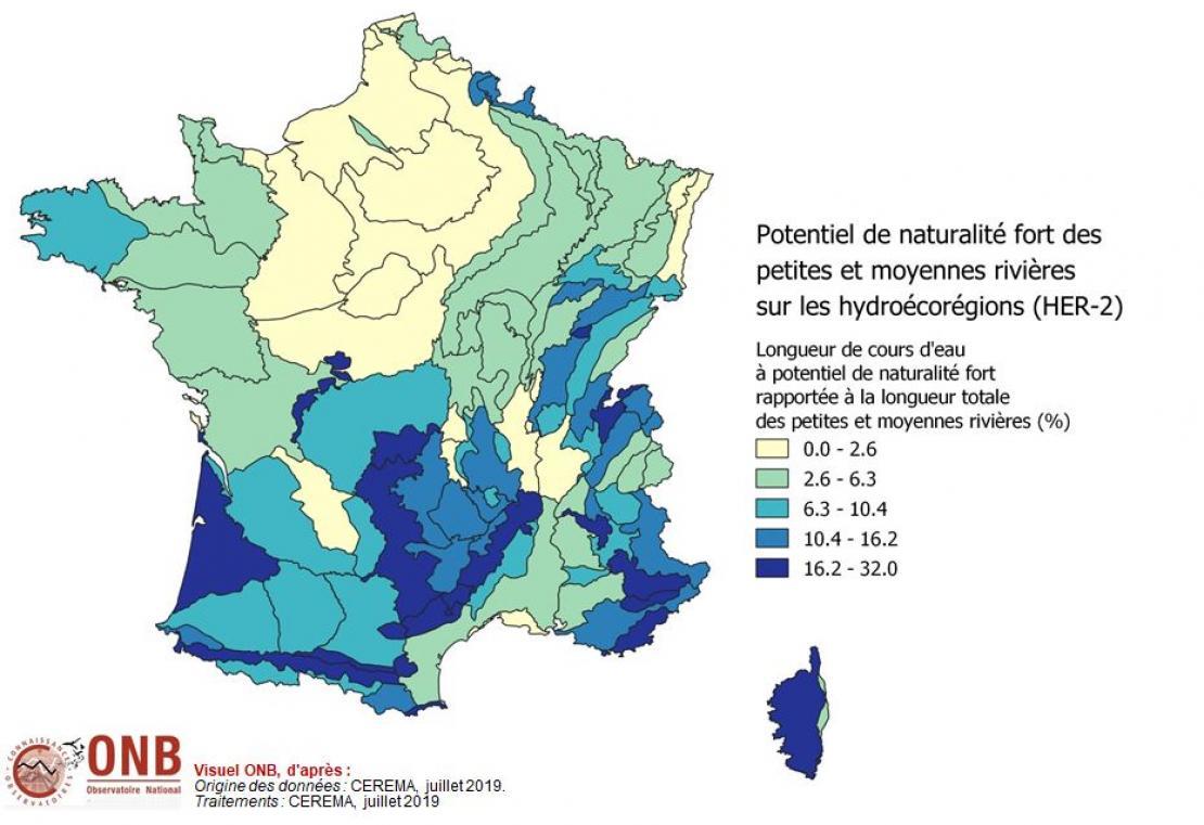 Longueur des cours d'eau à potentiel de naturalité fort rapportée à la longueur totale des petites et moyennes rivières par hydroécorégion