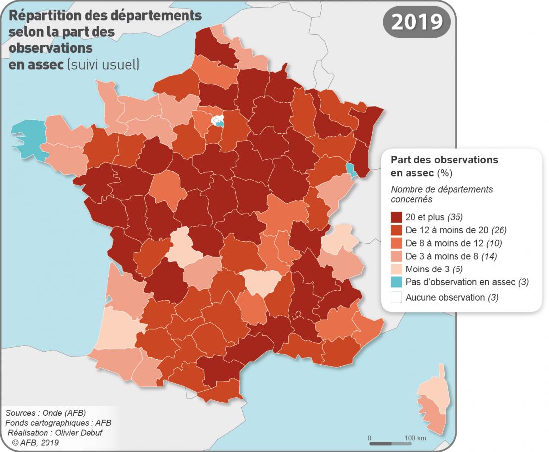 Nombre de départements touchés par un assec par année