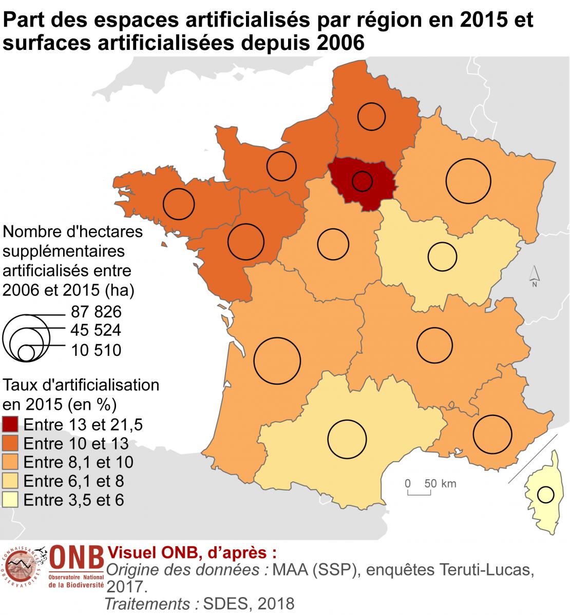 Part des espaces artificialisés par région en 2015 et surfaces artificialisées depuis 2006 en métropole