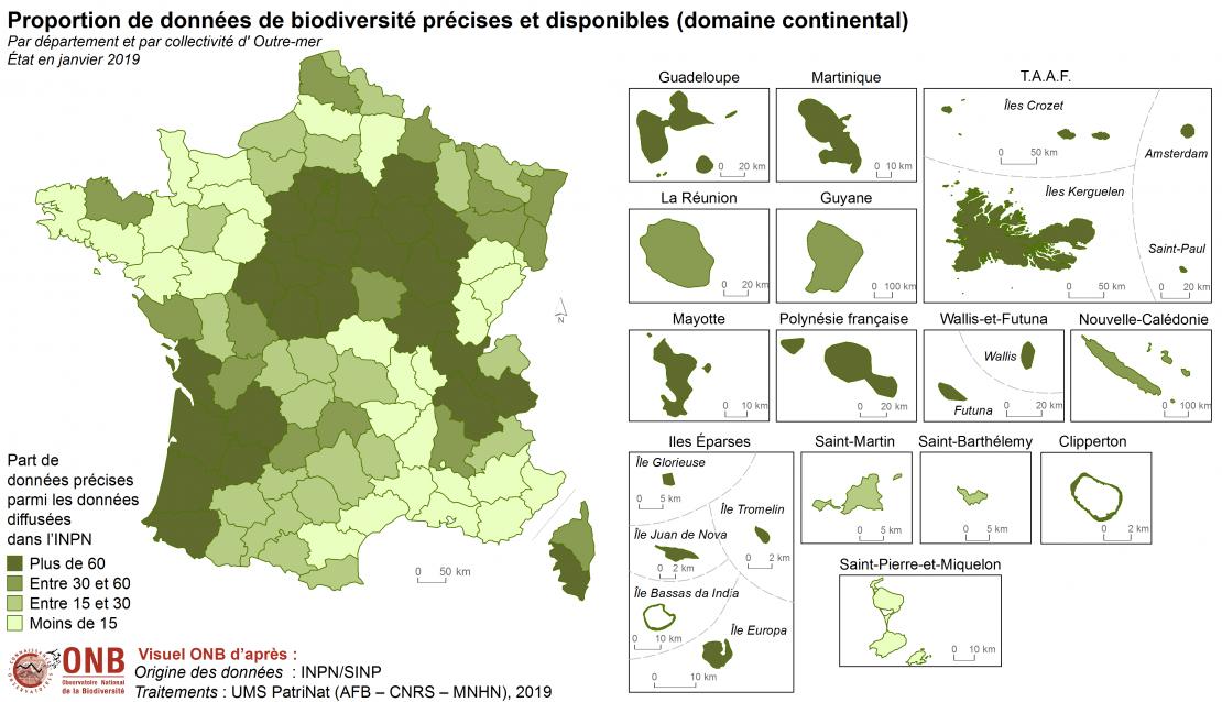 Proportion de données de biodiversité précises et disponibles (domaine continental) par département et par collectivité d'Outre-mer, état en janvier 2019