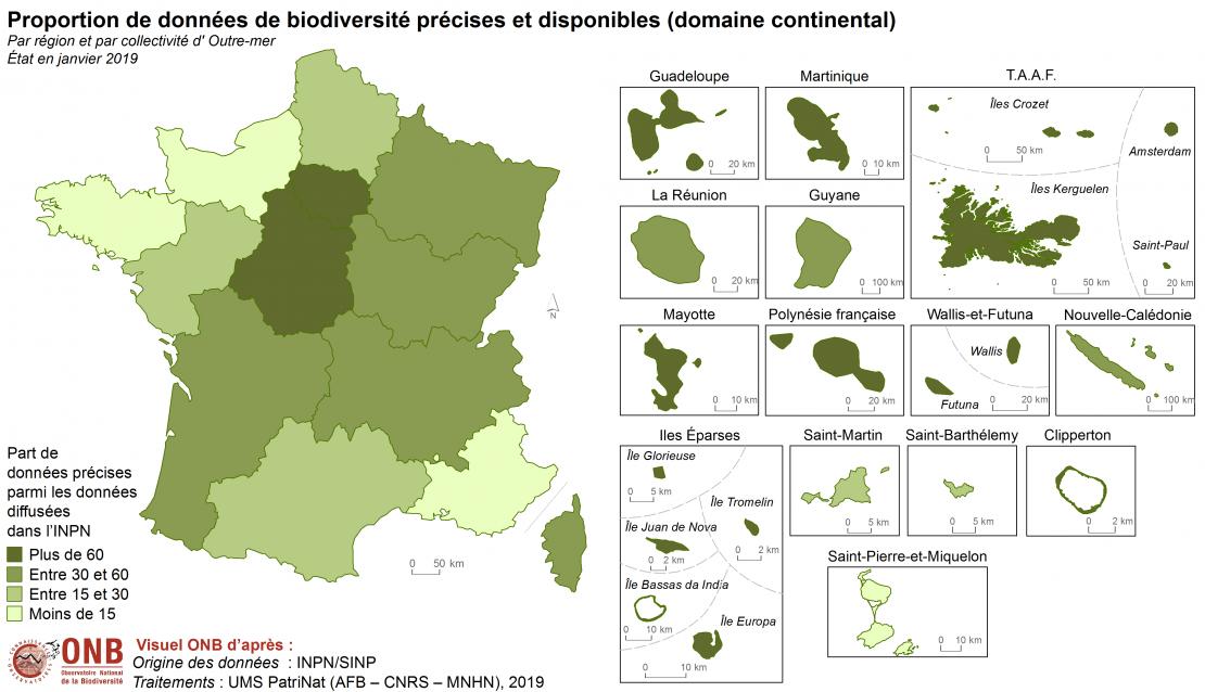 Proportion de données de biodiversité précises et disponibles (domaine continental) par région et par collectivité d'Outre-mer, état en janvier 2019