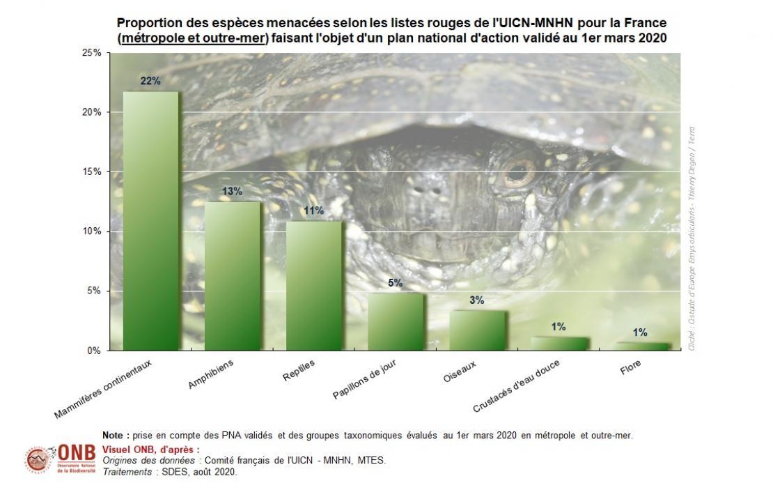 Proportion des espèces menacées selon les listes rouges de l'UICN-MNHN pour la France (métropole et outre-mer) faisant l'objet d'un plan national d'action validé au 1er mars 2020