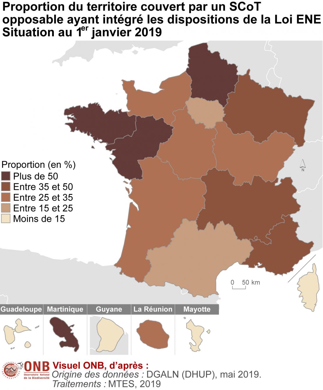 """Proportion du territoire de chaque région couvert par un schéma de cohérence territoriale incluant les enjeux biodiversité (""""SCoT Grenelle"""")"""