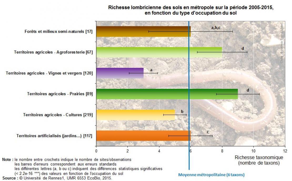 Richesse (nombre de taxons) par occupation du sol