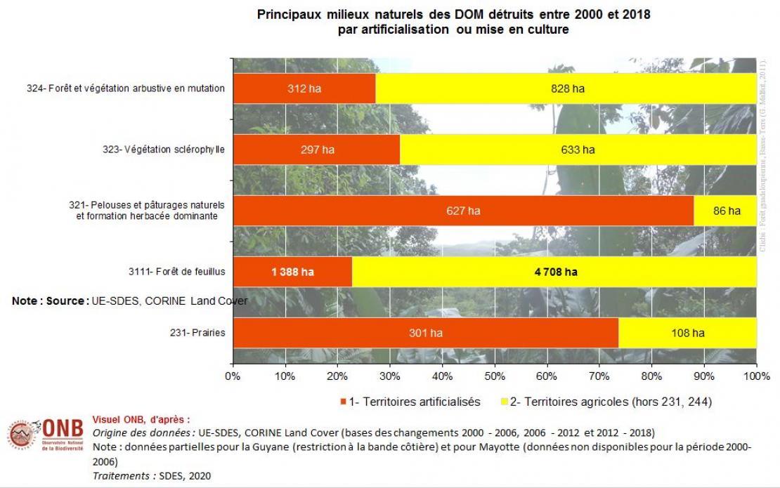 Répartition des milieux naturels détruits par artificialisation, mise en culture ou mise en prairie entre 2000 et 2018 en pourcentage (lignes) dans les DOM