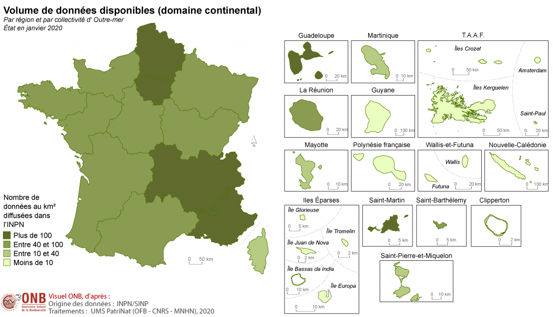 Volume de données disponibles (domaine continental) par région et par collectivité d'Outre-mer, version 2020