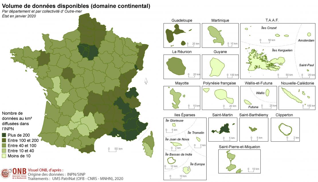 Volume de données disponibles par territoires, version 2020