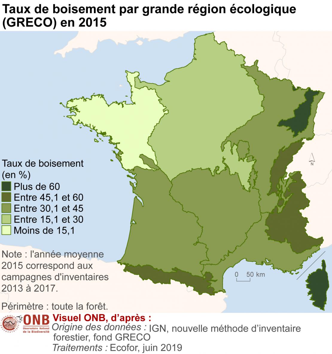 Évolution de la surface totale forêt et du taux de boisement par grande région écologique (GRECO) en France métropolitaine