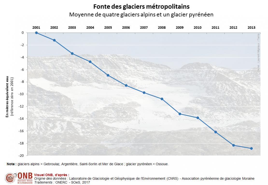 Évolution du bilan de masse de cinq glaciers alpins et pyrénéen de 2001 à 2015