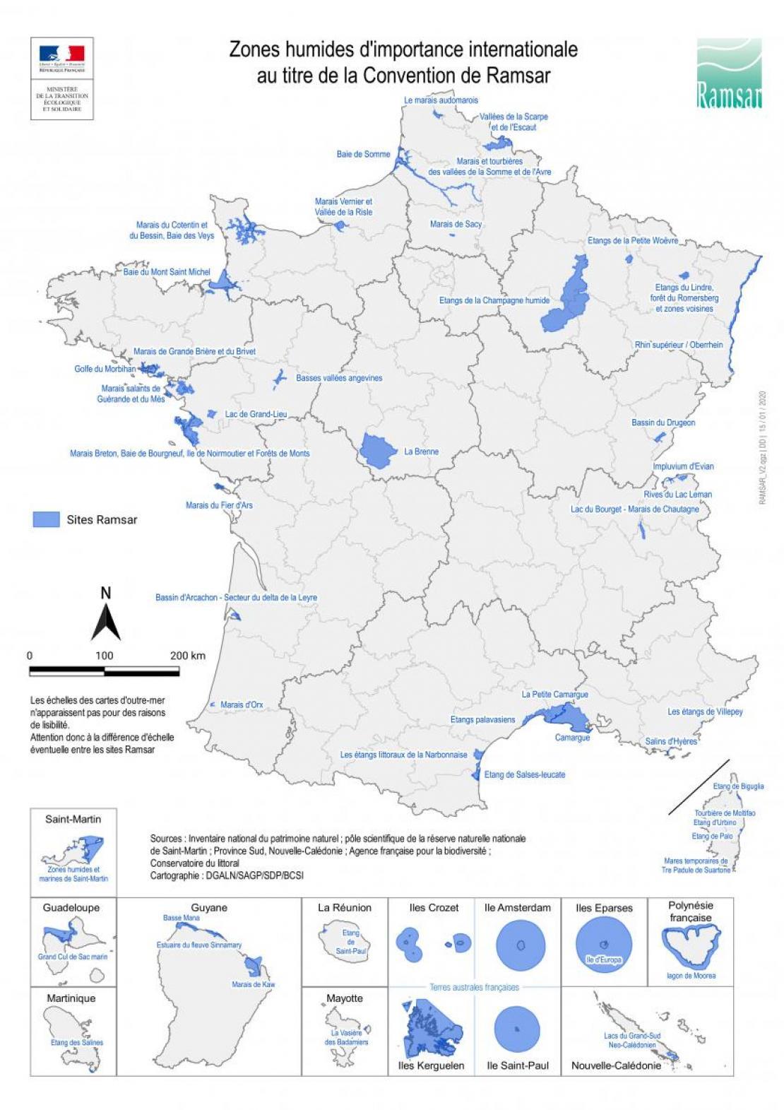 Zones humides d'importance internationale au titre de la Convention de Ramsar