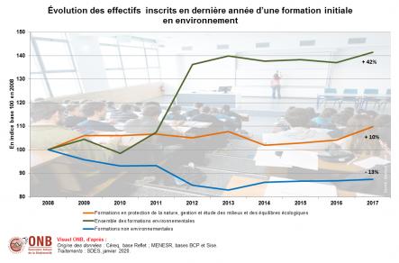 Effectifs inscrits en dernière année d'une formation initiale en environnement, par domaine et par niveau d'études en indice base 100 en 2008, version 2020