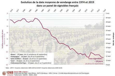 Moyenne décennale et nombre de jours d'avancement de la date des vendanges pour un panel de vignobles français