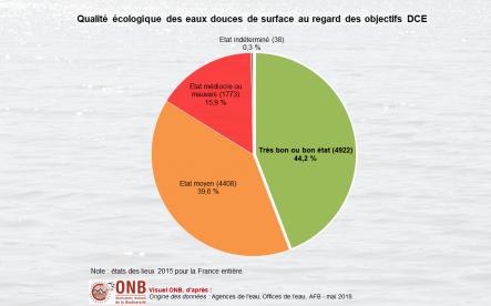 État écologique des masses d'eau douce de surface en France métropolitaine et dans les DOM